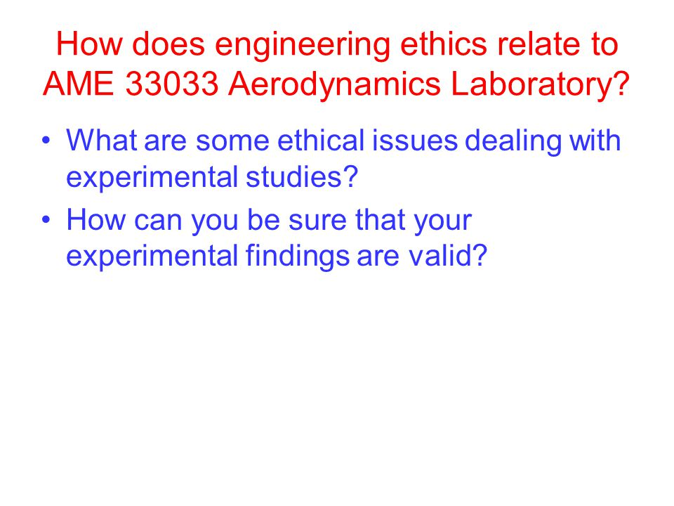 How does engineering ethics relate to AME 33033 Aerodynamics Laboratory