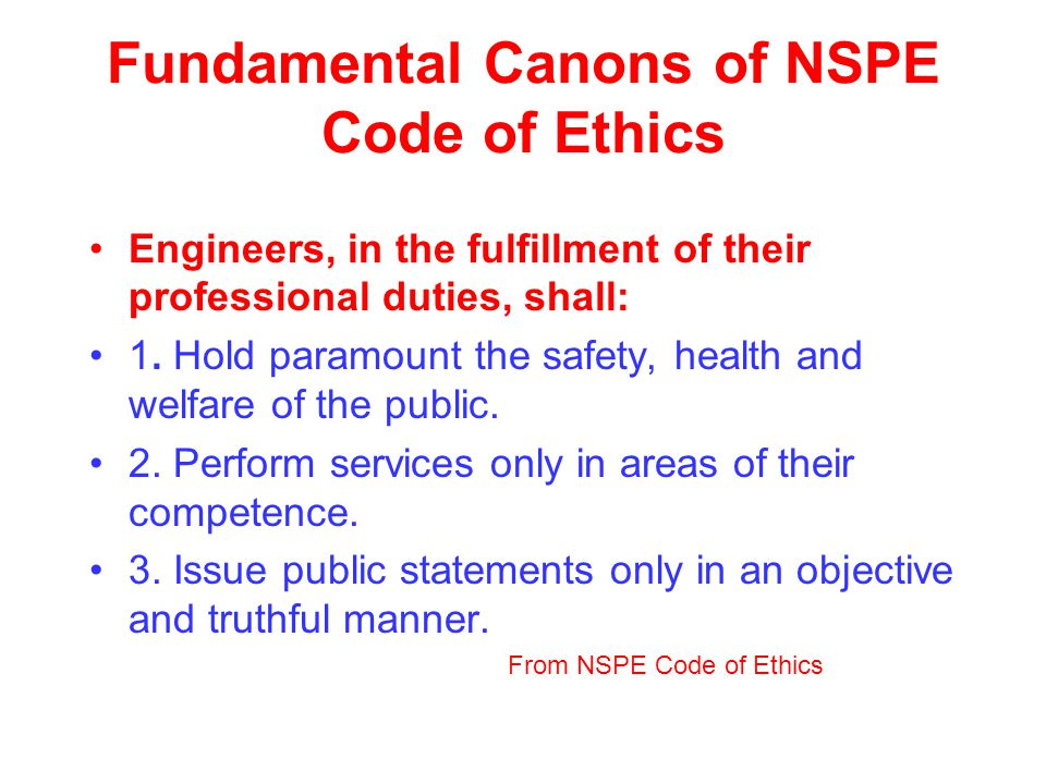 Fundamental Canons of NSPE Code of Ethics