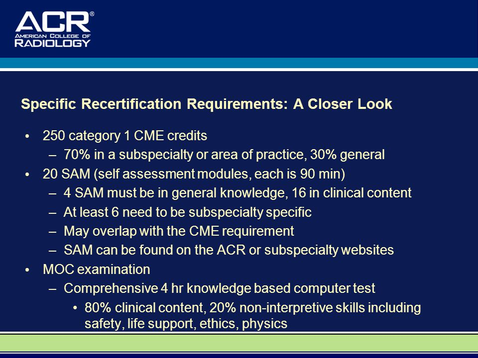 Specific Recertification Requirements: A Closer Look