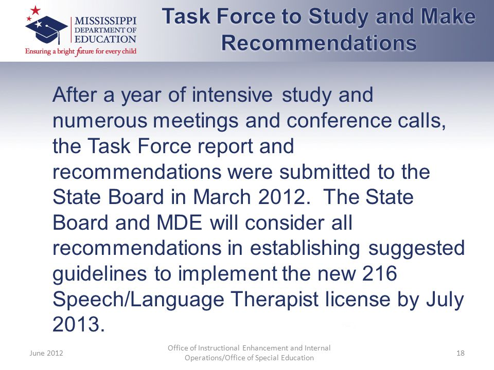 Task Force to Study and Make Recommendations