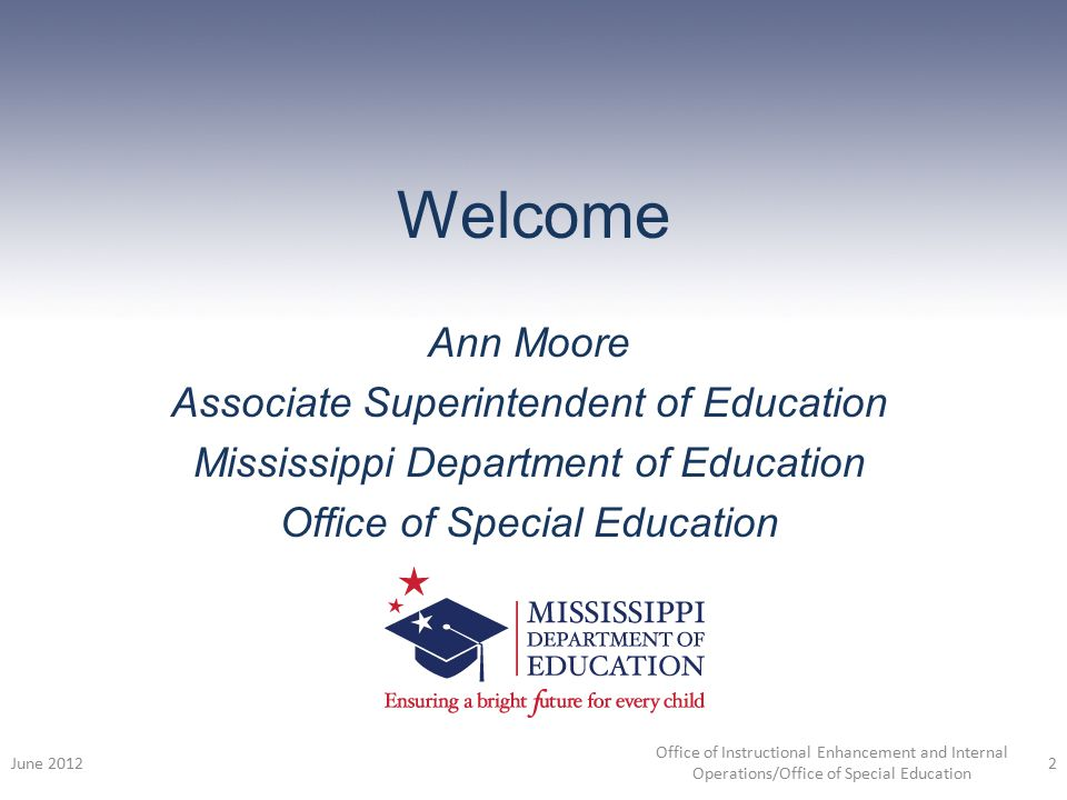 Welcome Ann Moore Associate Superintendent of Education