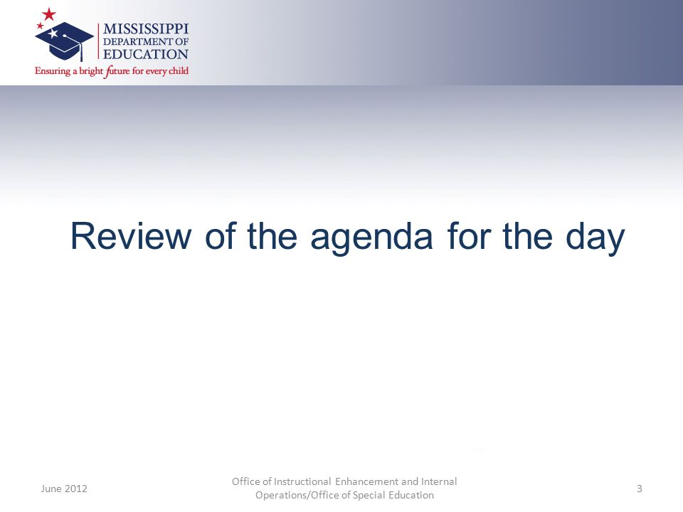 Review of the agenda for the day