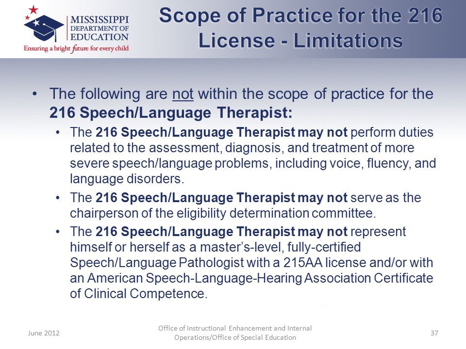 Scope of Practice for the 216 License - Limitations