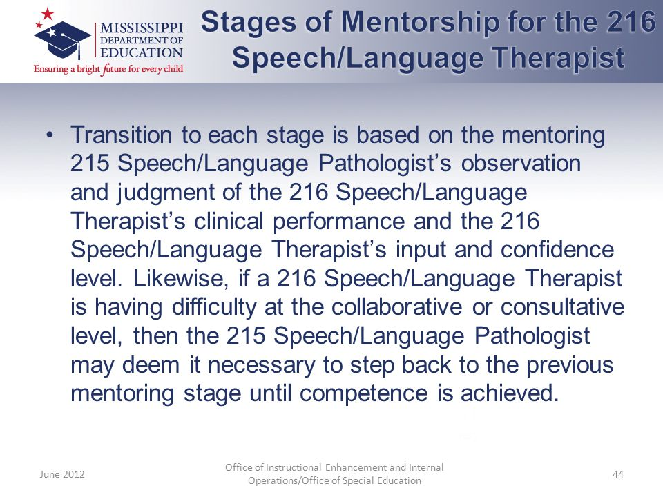 Stages of Mentorship for the 216 Speech/Language Therapist