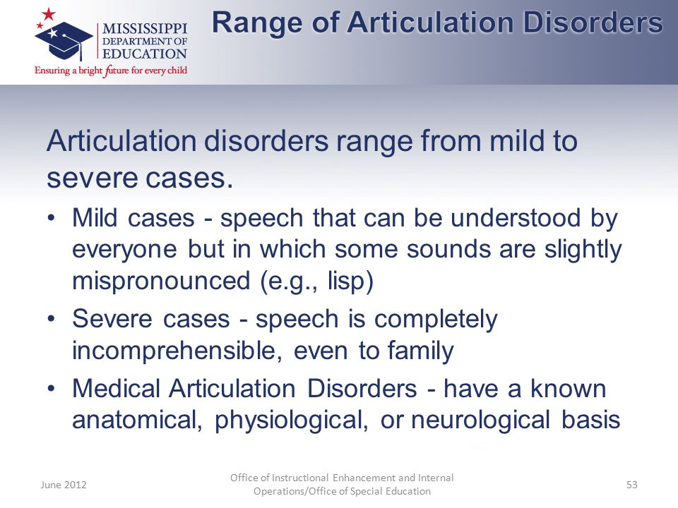 Range of Articulation Disorders