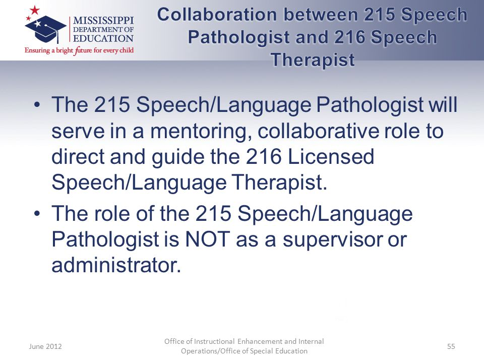 Collaboration between 215 Speech Pathologist and 216 Speech Therapist