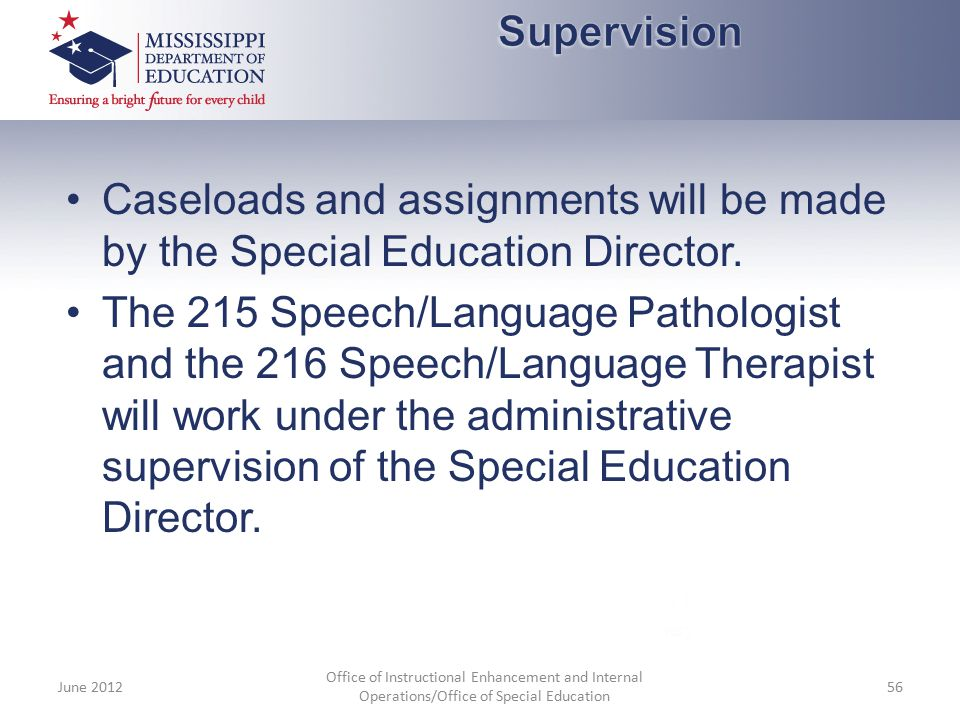Supervision Caseloads and assignments will be made by the Special Education Director.