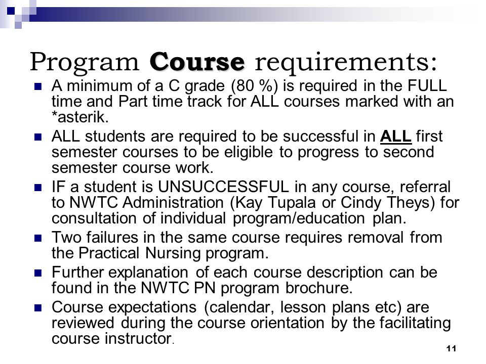 Program Course requirements: