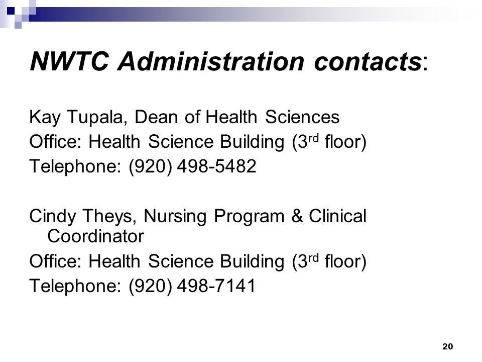 NWTC Administration contacts: