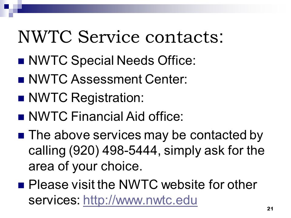 NWTC Service contacts: