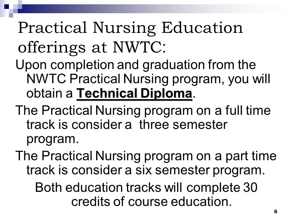 Practical Nursing Education offerings at NWTC: