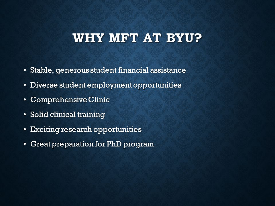 Why MFT at BYU Stable, generous student financial assistance