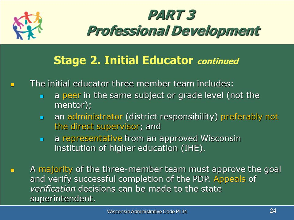 PART 3 Professional Development Stage 2. Initial Educator continued
