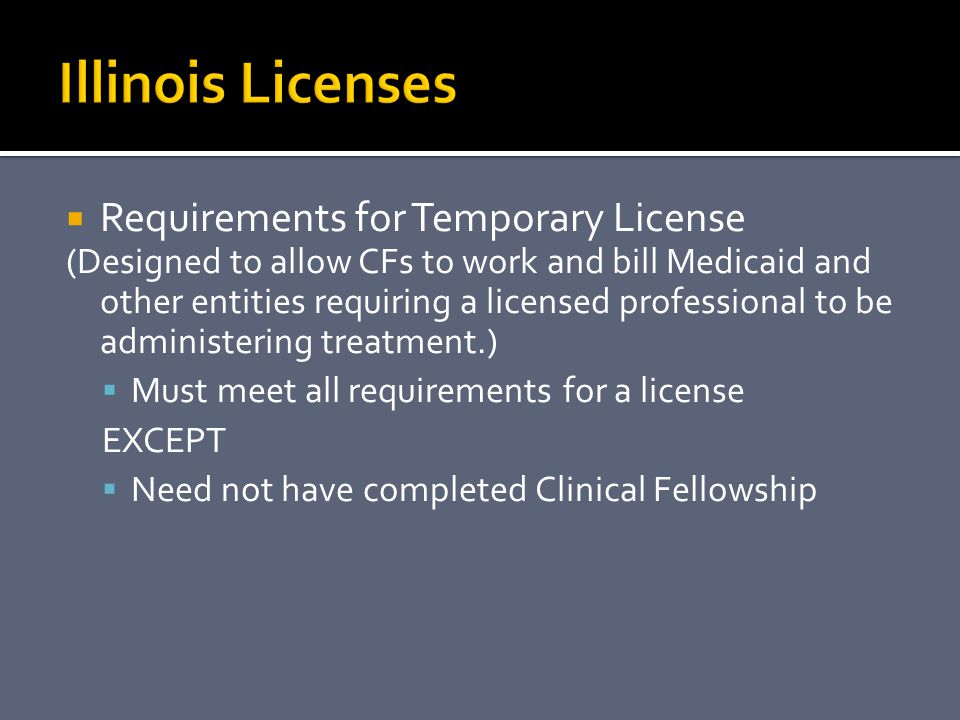 Illinois Licenses Requirements for Temporary License