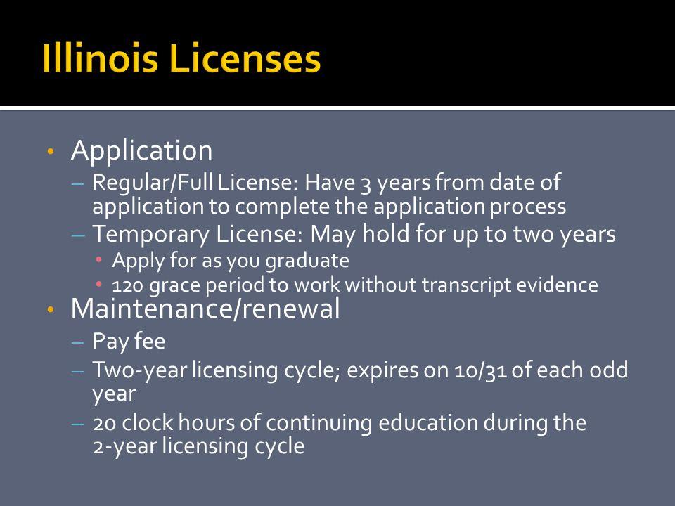 Illinois Licenses Application Maintenance/renewal
