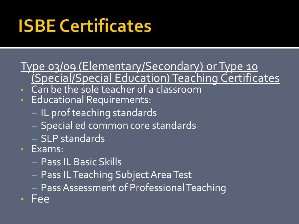 ISBE Certificates Type 03/09 (Elementary/Secondary) or Type 10 (Special/Special Education) Teaching Certificates.