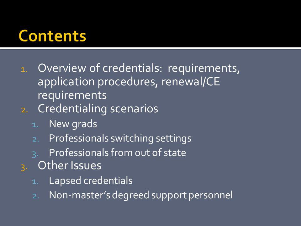 Contents Overview of credentials: requirements, application procedures, renewal/CE requirements. Credentialing scenarios.