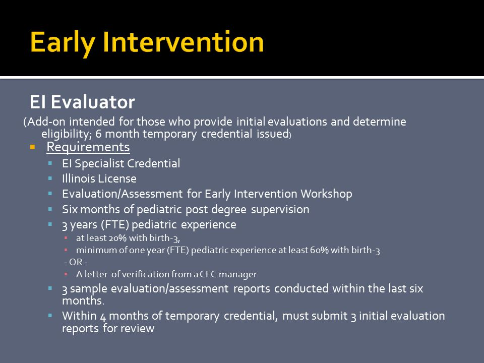 Early Intervention EI Evaluator Requirements