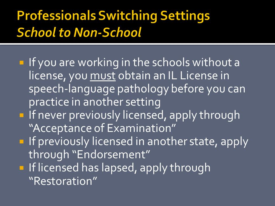 Professionals Switching Settings School to Non-School