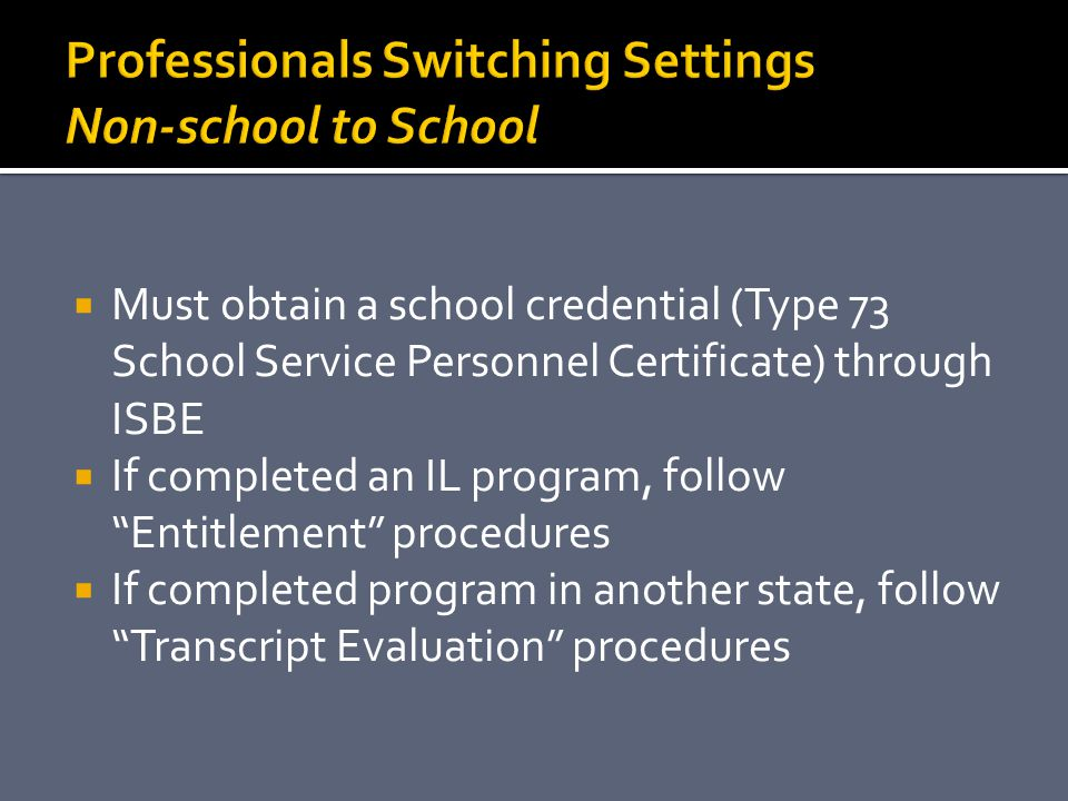 Professionals Switching Settings Non-school to School