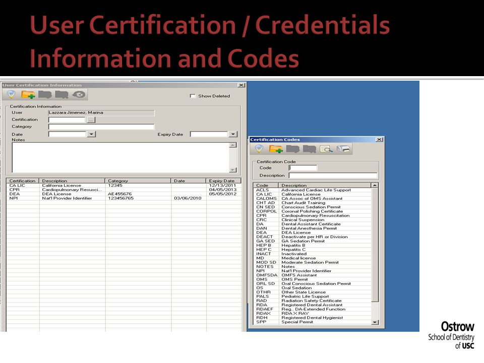User Certification / Credentials Information and Codes
