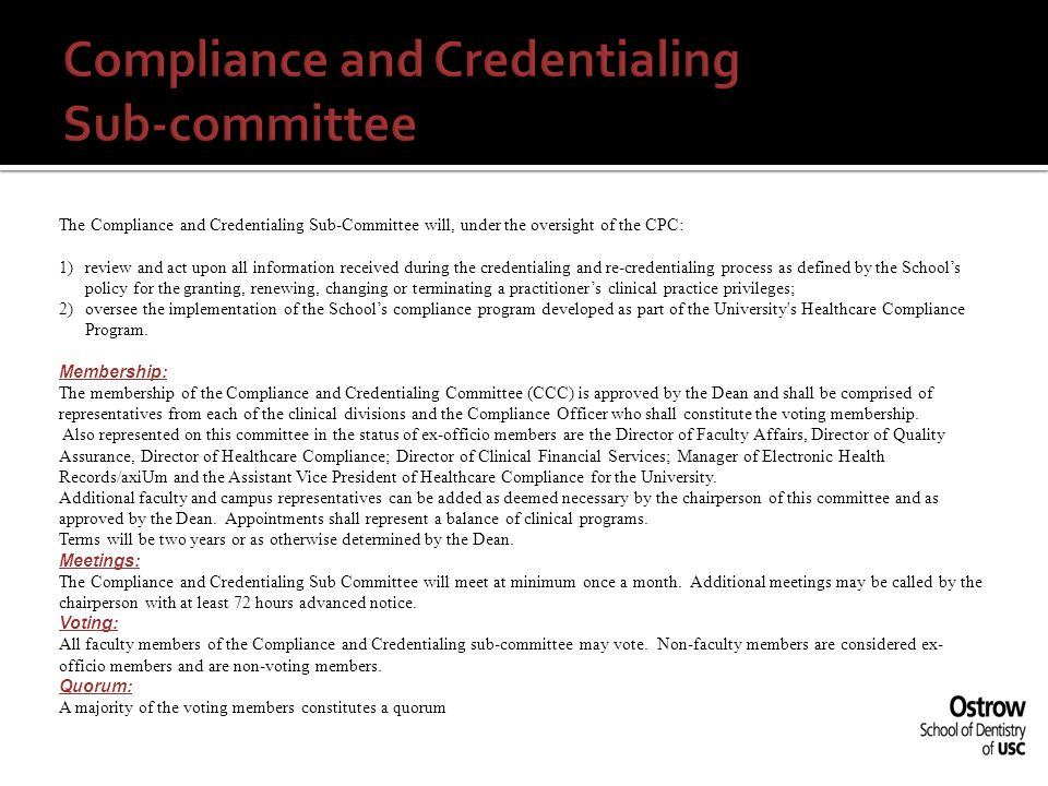 Compliance and Credentialing Sub-committee