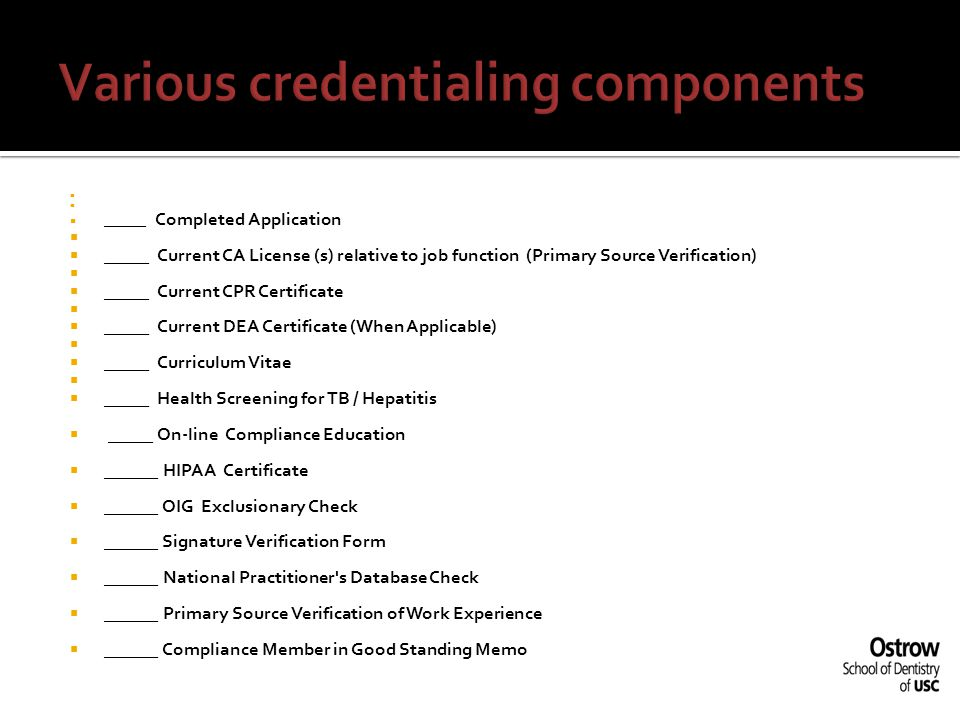 Various credentialing components
