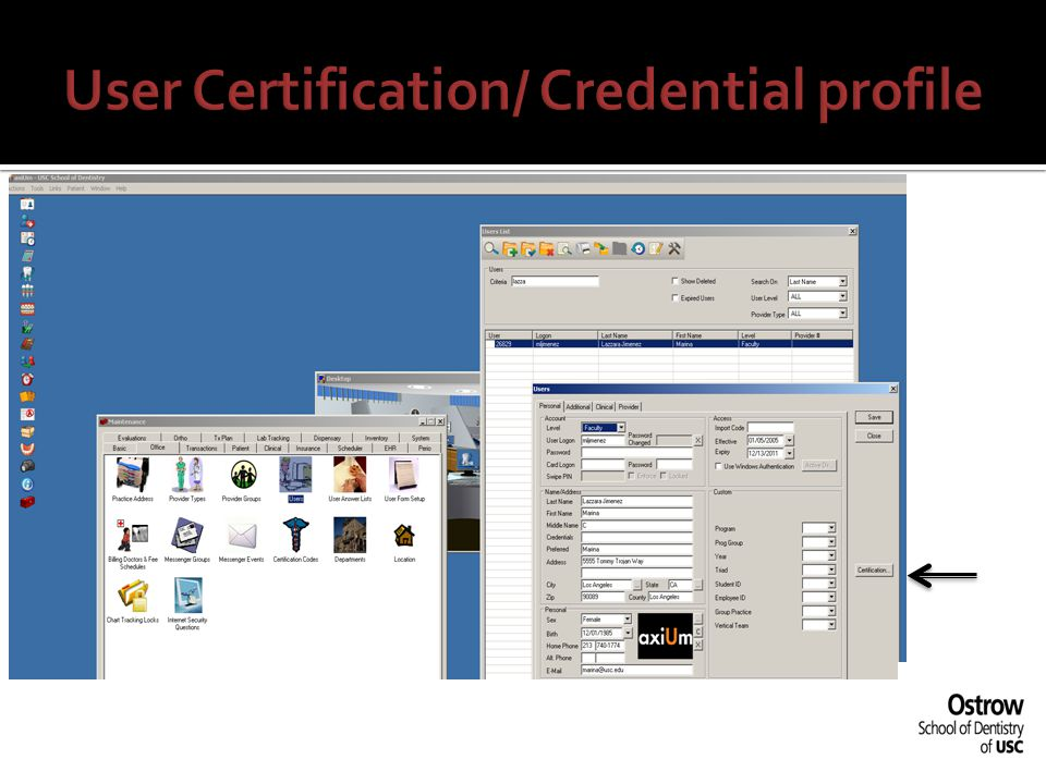 User Certification/ Credential profile