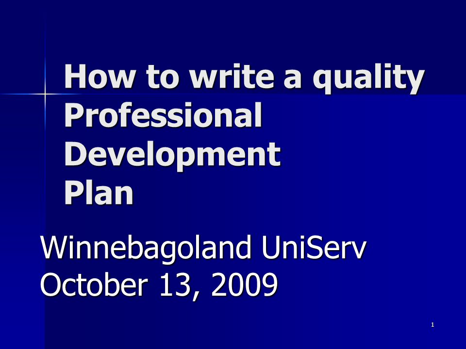 How to write a quality Professional Development Plan