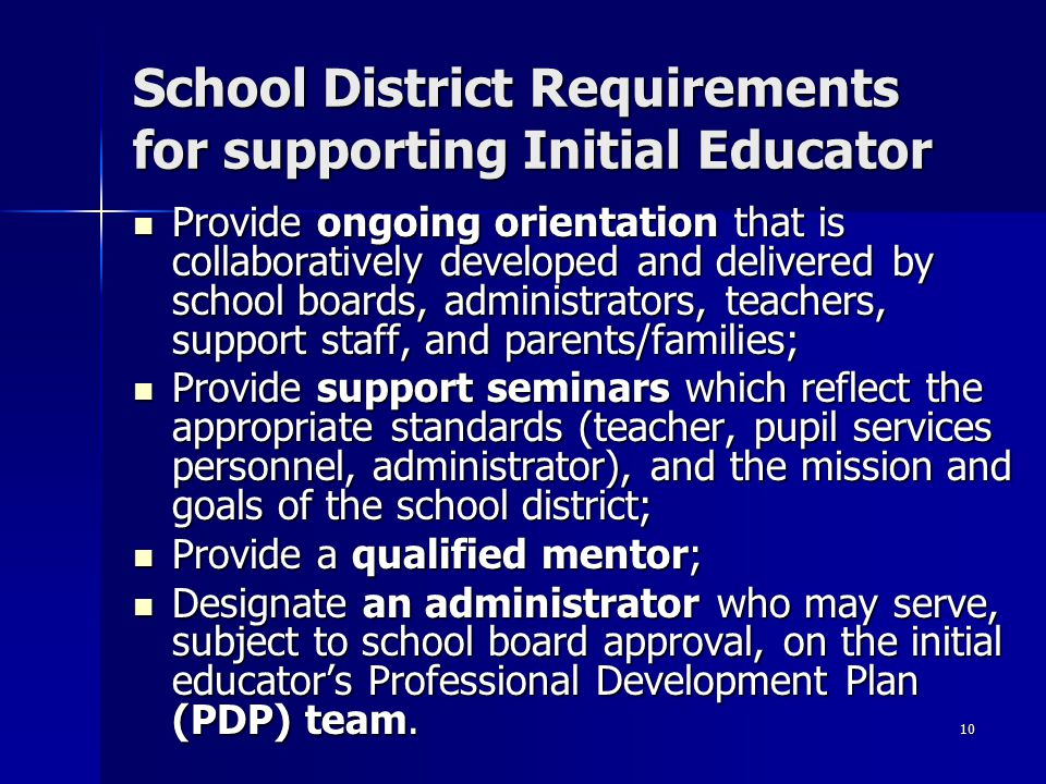 School District Requirements for supporting Initial Educator