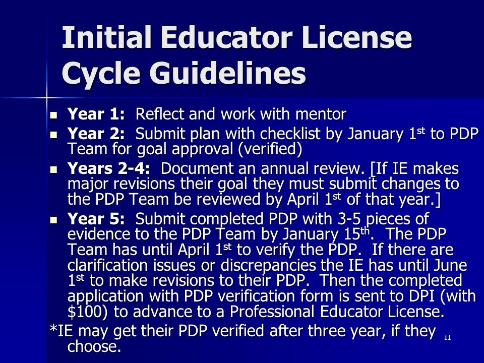 Initial Educator License Cycle Guidelines