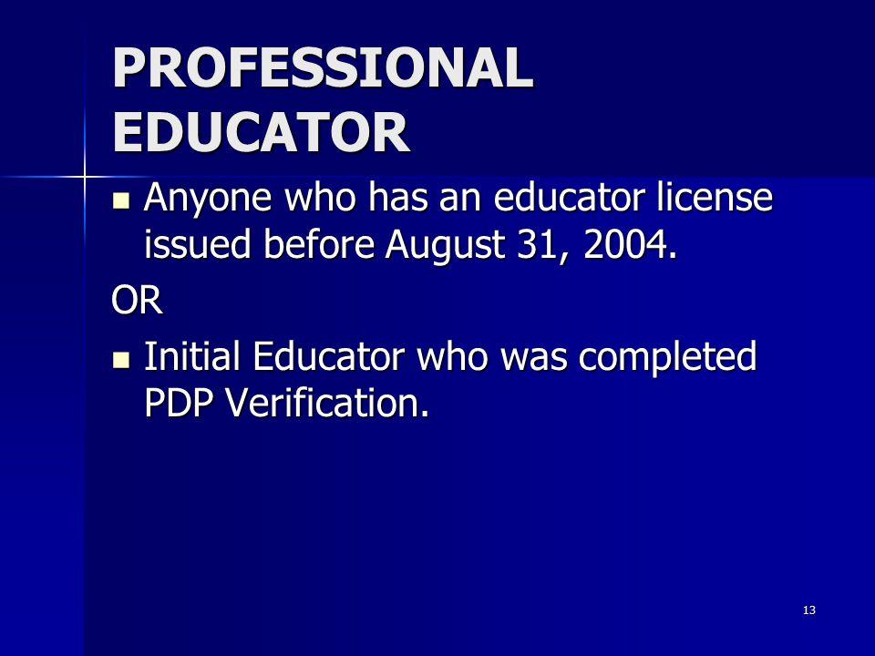 PROFESSIONAL EDUCATOR