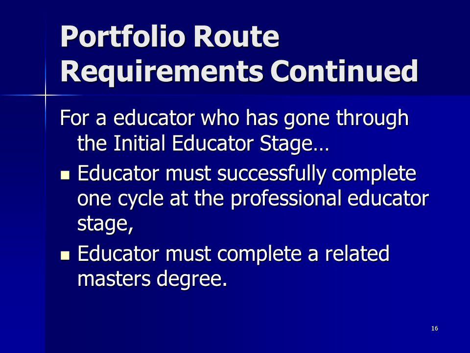 Portfolio Route Requirements Continued