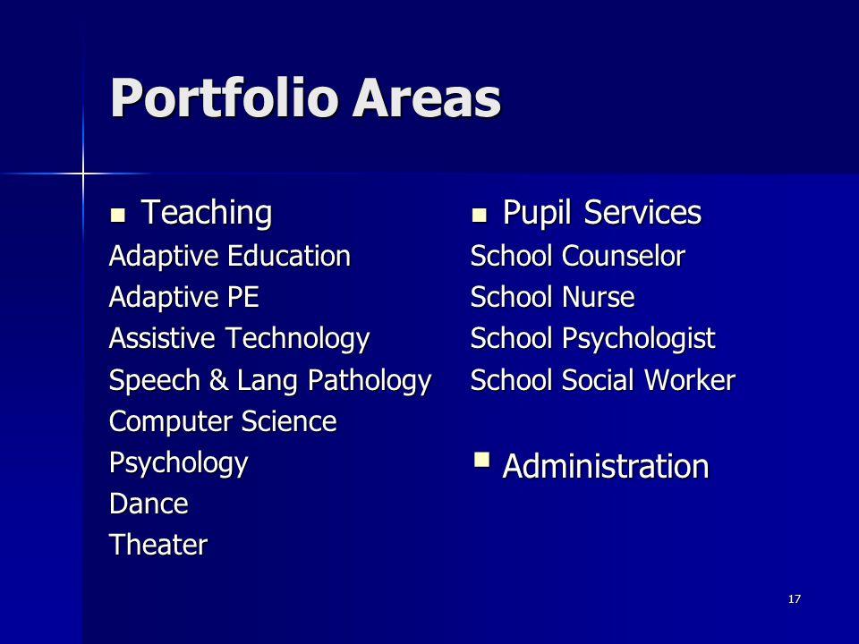 Portfolio Areas Teaching Pupil Services Administration
