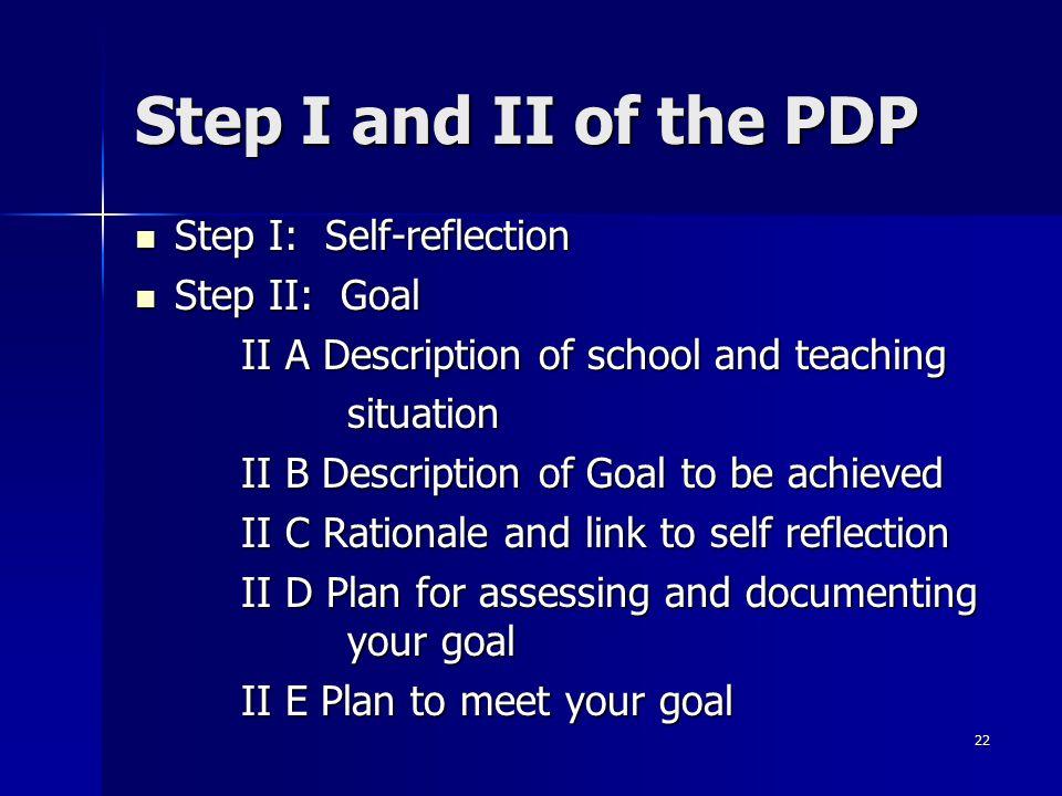 Step I and II of the PDP Step I: Self-reflection Step II: Goal
