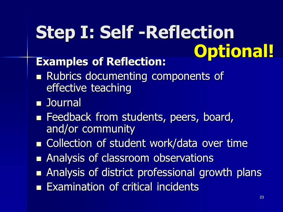 Step I: Self -Reflection