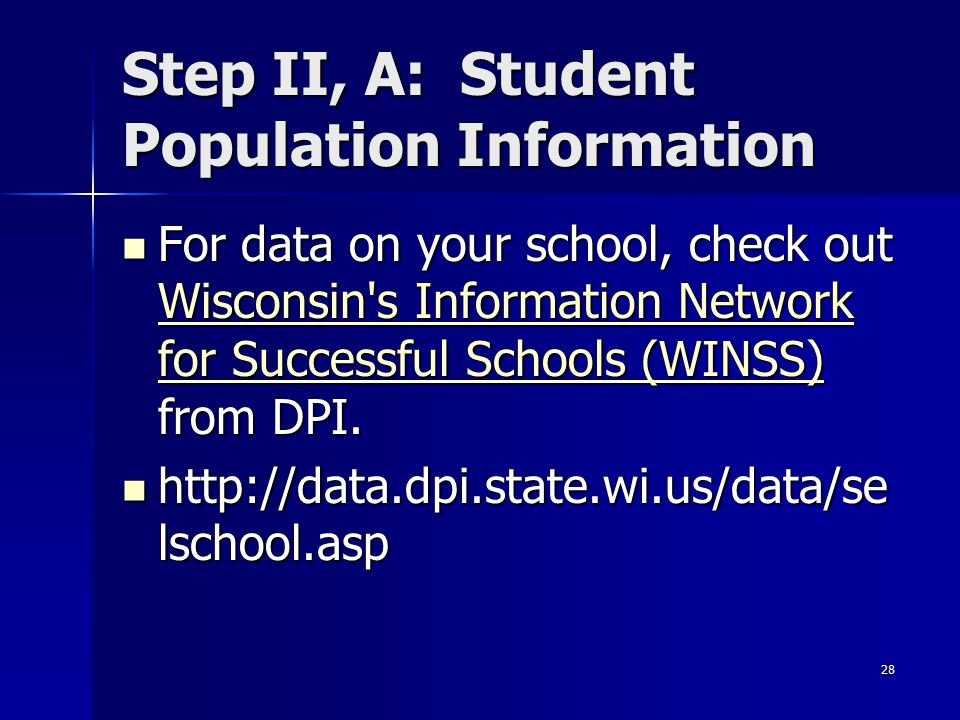 Step II, A: Student Population Information