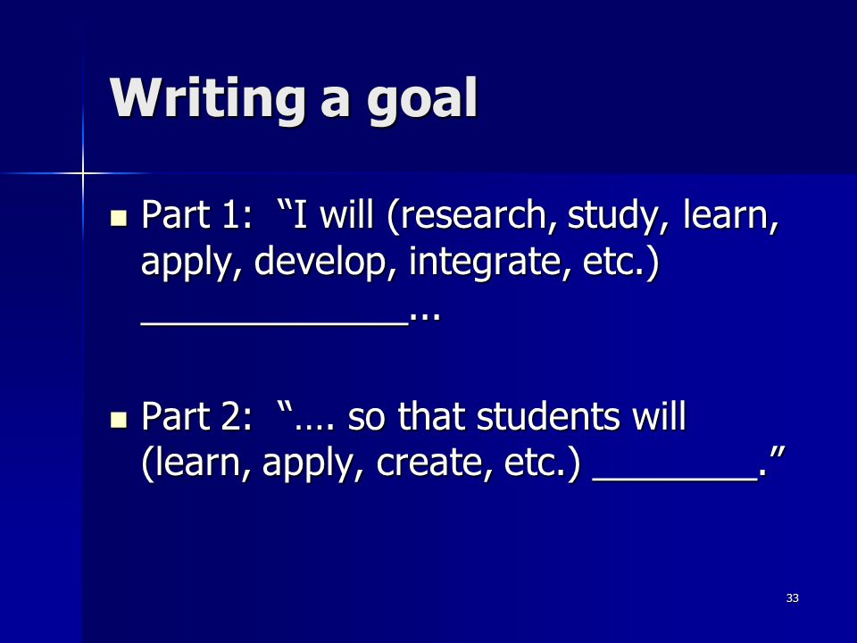 Writing a goal Part 1: I will (research, study, learn, apply, develop, integrate, etc.) _____________...