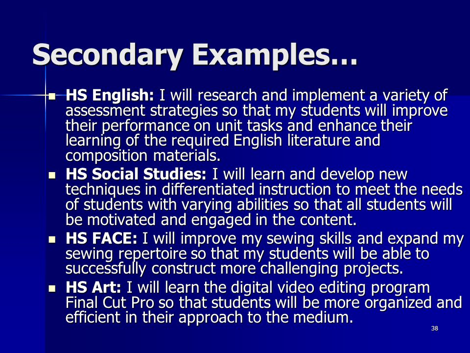 Secondary Examples…