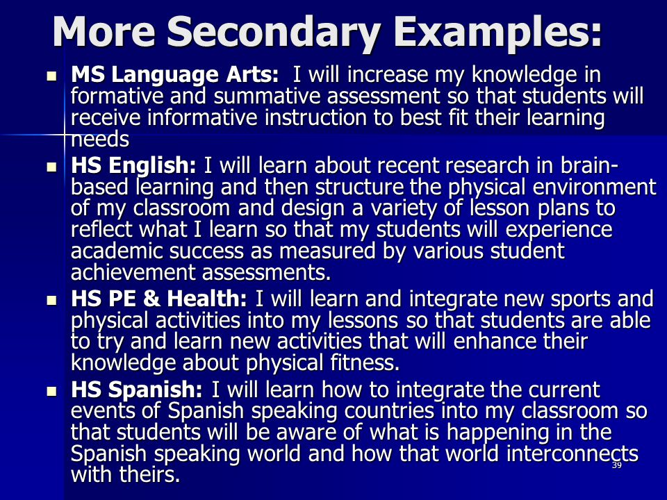 More Secondary Examples: