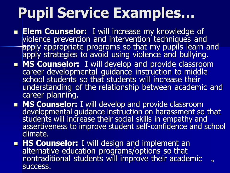 Pupil Service Examples…