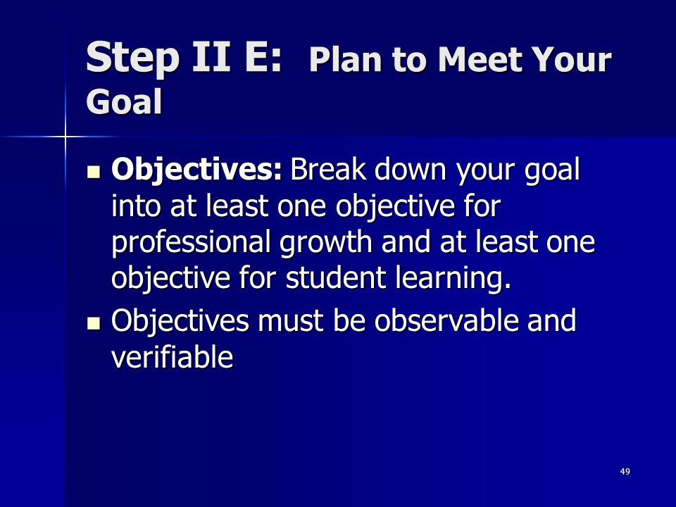 Step II E: Plan to Meet Your Goal