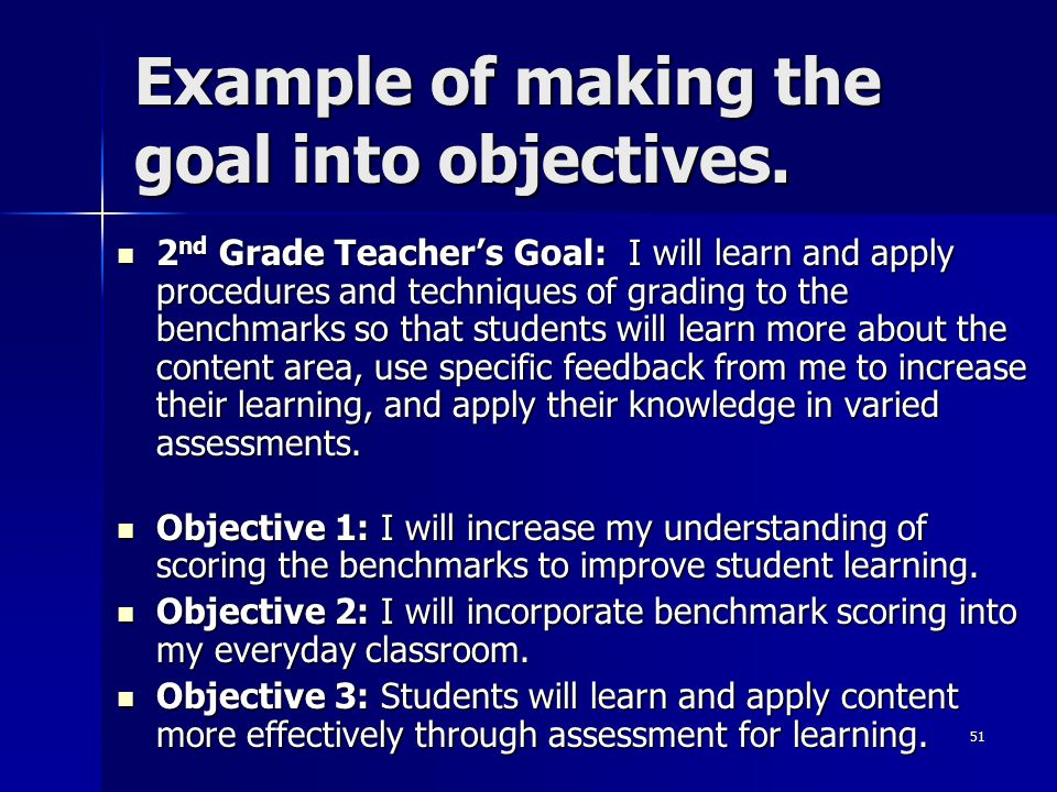 Example of making the goal into objectives.