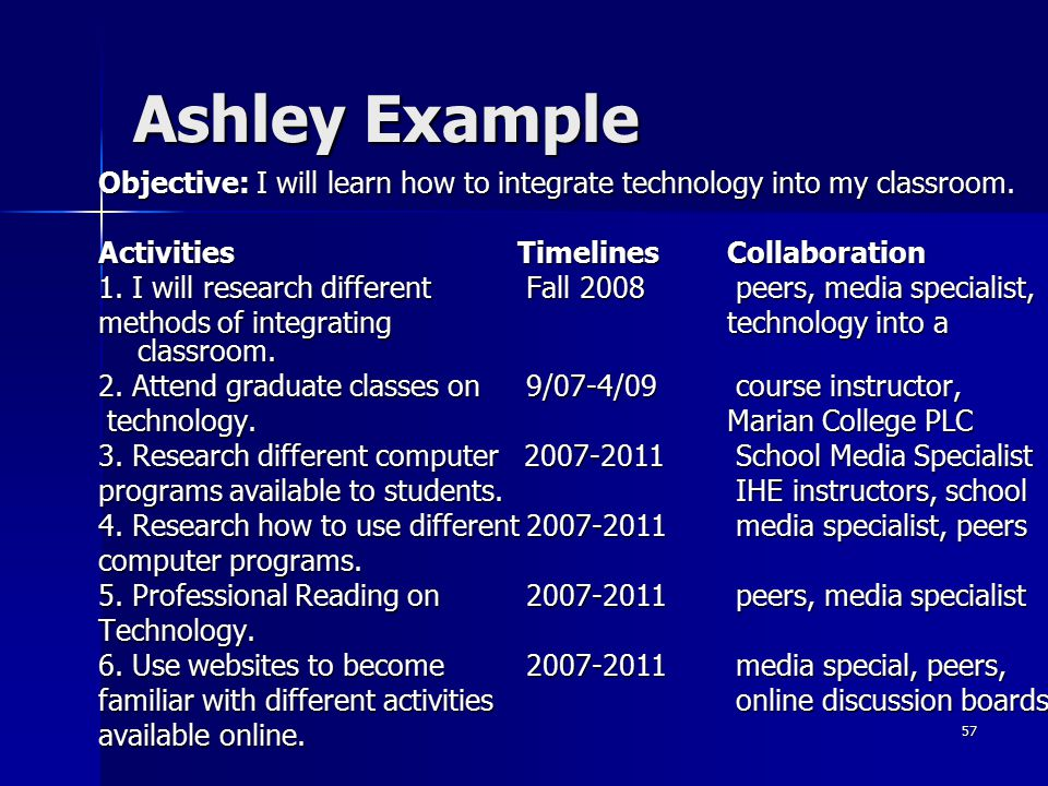 Ashley Example Objective: I will learn how to integrate technology into my classroom. Activities Timelines Collaboration.