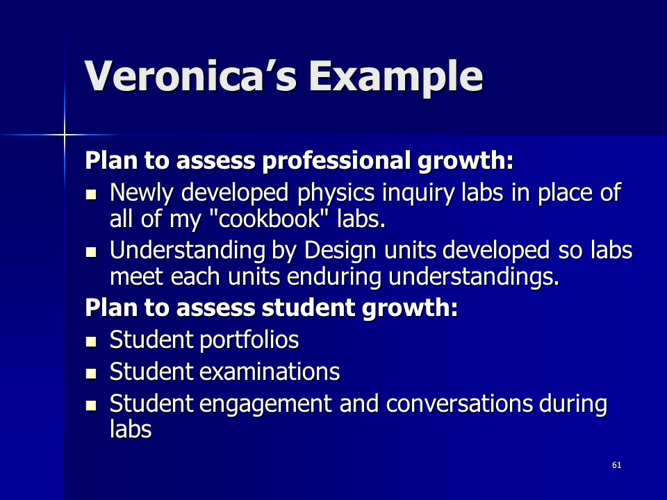 Veronica's Example Plan to assess professional growth: