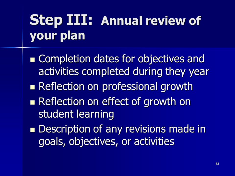 Step III: Annual review of your plan