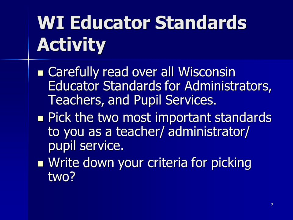 WI Educator Standards Activity