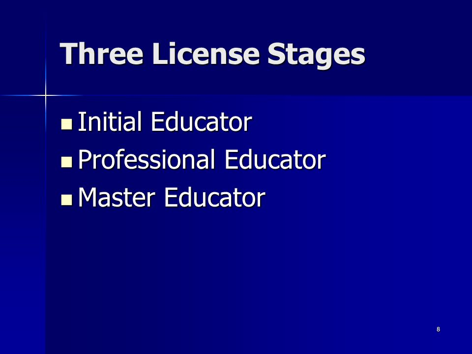 Three License Stages Initial Educator Professional Educator