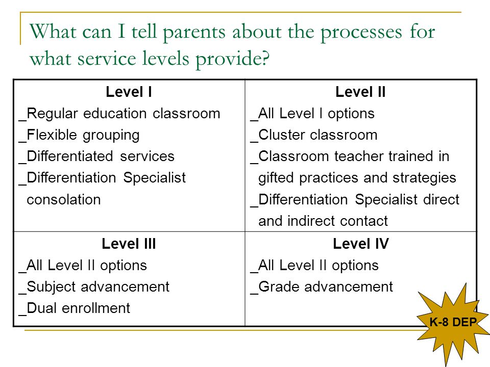 What can I tell parents about the processes for what service levels provide