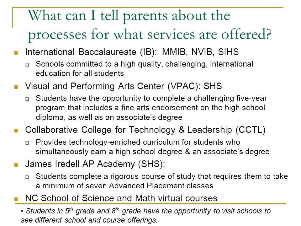 What can I tell parents about the processes for what services are offered
